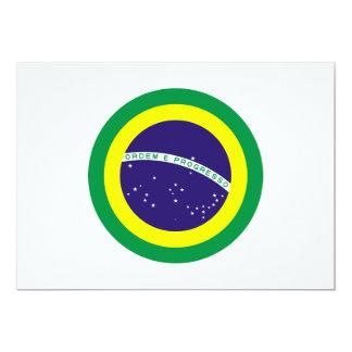 """Bandera redonda del Brasil Invitación 5"""" X 7"""""""