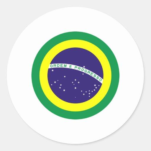 Bandera redonda del Brasil Pegatina Redonda