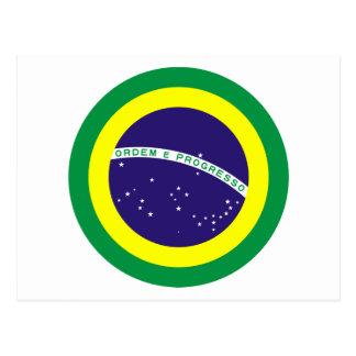 Bandera redonda del Brasil Postales