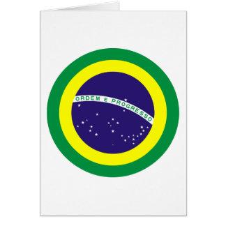 Bandera redonda del Brasil Tarjeta De Felicitación
