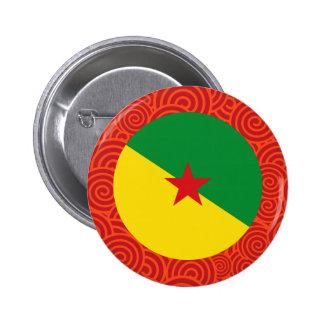 Bandera redonda Francesa de la Guayana Pin Redondo 5 Cm
