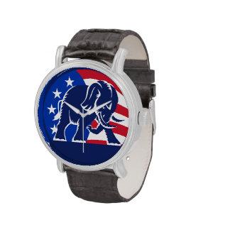 Bandera republicana del elefante reloj