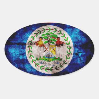Bandera resistida de Belice Pegatina Ovalada