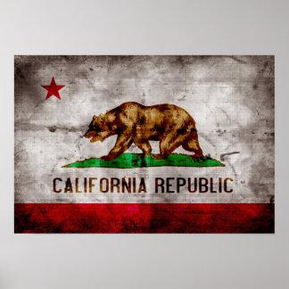 Bandera resistida de California Póster