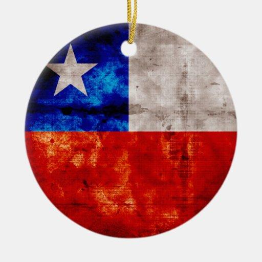 Bandera resistida de Chile Adorno Navideño Redondo De Cerámica