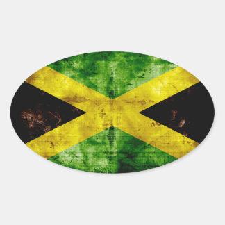 Bandera resistida de Jamaica Pegatina Ovalada