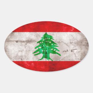 Bandera resistida de Líbano Pegatina Ovalada