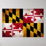 Bandera resistida de Maryland Posters