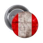 Bandera resistida de Perú Pin Redondo De 2 Pulgadas