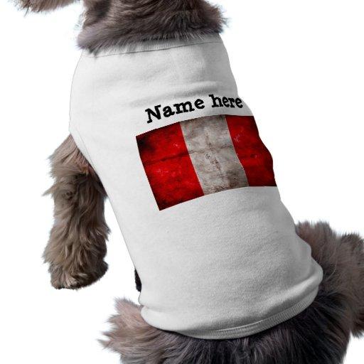 Bandera resistida de Perú Playera Sin Mangas Para Perro