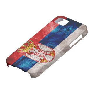 Bandera resistida de Serbia Funda Para iPhone 5 Barely There