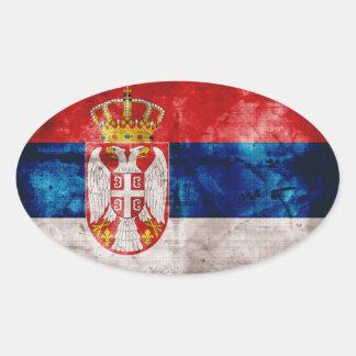 Bandera resistida de Serbia Pegatina Ovalada