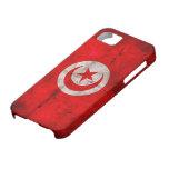 Bandera resistida de Túnez iPhone 5 Case-Mate Cárcasa