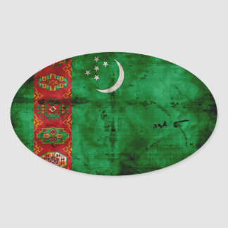 Bandera resistida de Turkmenistán Colcomanias De Oval Personalizadas