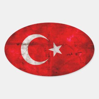 Bandera resistida de Turquía Pegatina Ovalada