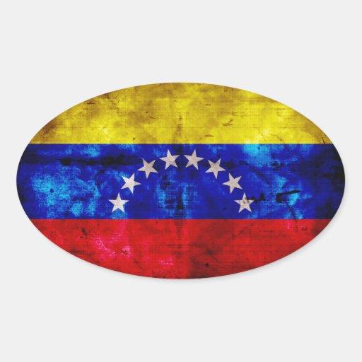Bandera resistida de Venezuela Calcomanías De Ovaladas