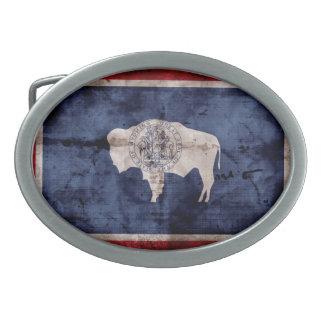 Bandera resistida de Wyoming Hebillas Cinturon Ovales