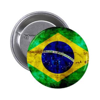 Bandera resistida del Brasil Pin Redondo 5 Cm