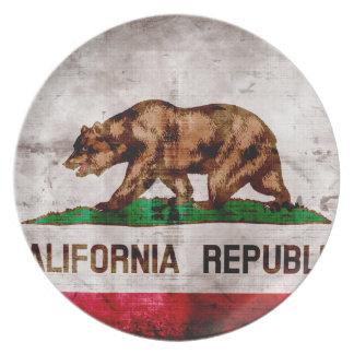 Bandera resistida del estado de California del Plato Para Fiesta
