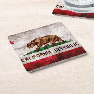 Bandera resistida del estado de California del Posavasos De Cartón Cuadrado