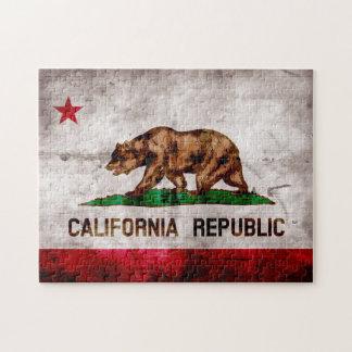 Bandera resistida del estado de California del Rompecabezas Con Fotos