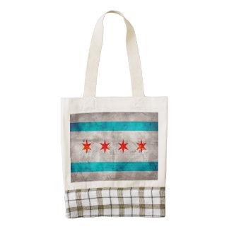 Bandera resistida del estado de Chicago del Bolsa Tote Zazzle HEART