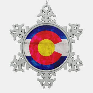 Bandera resistida del estado de Colorado del Adorno De Peltre En Forma De Copo De Nieve
