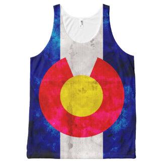 Bandera resistida del estado de Colorado del Camiseta De Tirantes Con Estampado Integral