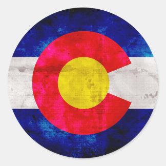 Bandera resistida del estado de Colorado del Pegatina Redonda