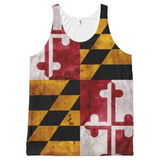 Bandera resistida del estado de Maryland del Camiseta De Tirantes Con Estampado Integral