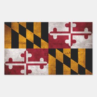 Bandera resistida del estado de Maryland del Pegatina Rectangular