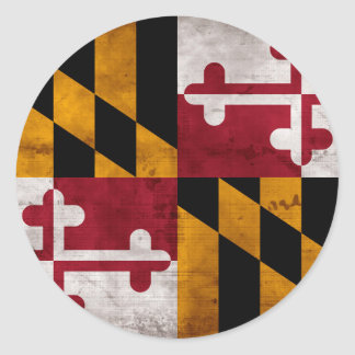 Bandera resistida del estado de Maryland del Pegatina Redonda