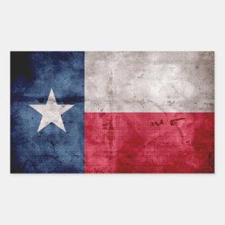 Bandera resistida del estado de Tejas del vintage Pegatina Rectangular