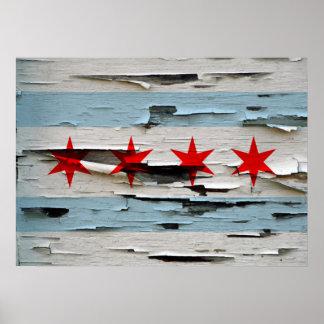 Bandera resistida vintage de Chicago Póster