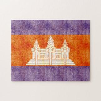 Bandera retra de Camboya del vintage Puzzles