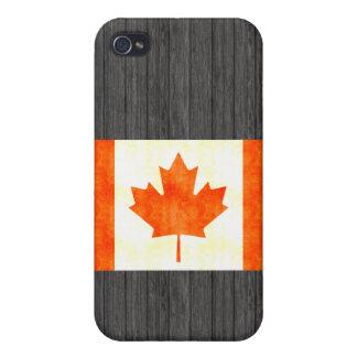 Bandera retra de Canadá del vintage iPhone 4/4S Carcasas