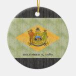 Bandera retra de Delaware del vintage Ornamentos De Reyes