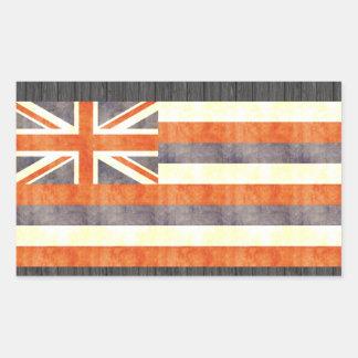 Bandera retra de Hawaii del vintage Pegatina Rectangular