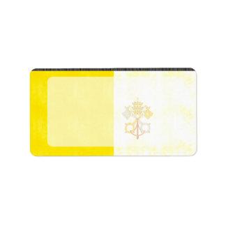 Bandera retra de la Ciudad del Vaticano del vintag Etiquetas De Dirección