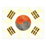 Bandera retra de la Corea del Sur del vintage Postales