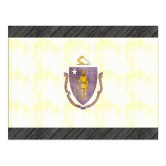 Bandera retra de Massachusetts del vintage Postales