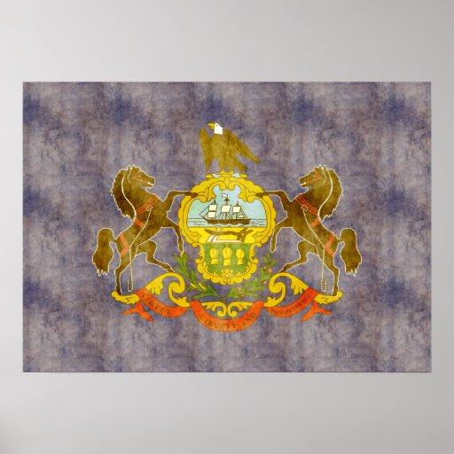 Bandera retra de Pennsylvania del vintage Póster