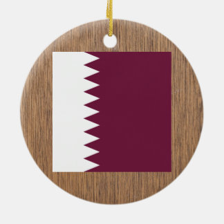 Bandera retra de Qatar Adorno Redondo De Cerámica