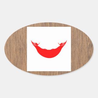 Bandera retra de Rapa Nui Pegatina Ovalada