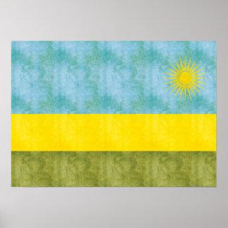 Bandera retra de Rwanda del vintage Posters