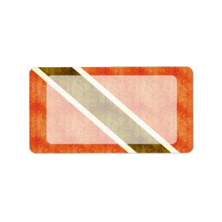 Bandera retra de Trinidad and Tobago del vintage Etiquetas De Dirección