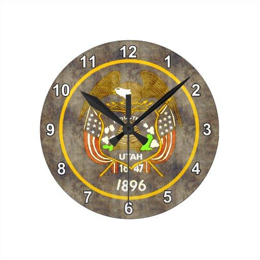 Bandera retra de Utah del vintage Reloj