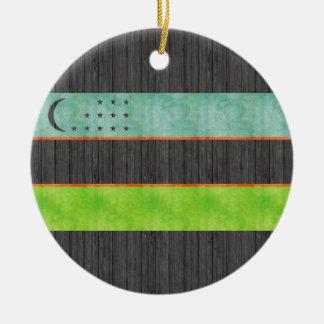 Bandera retra de Uzbekistán del vintage Ornamentos Para Reyes Magos
