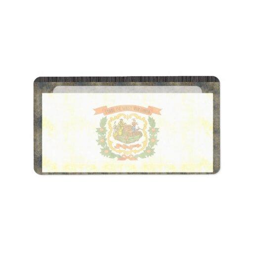 Bandera retra de Virginia Occidental del vintage Etiqueta De Dirección