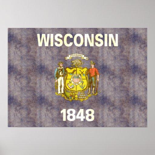 Bandera retra de Wisconsin del vintage Póster